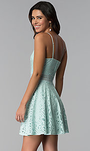 Image of aqua green short lace wedding guest party dress. Style: CT-3412KC2DT1 Back Image