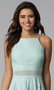 Image of aqua green short lace wedding guest party dress. Style: CT-3412KC2DT1 Detail Image 1