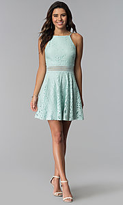 Image of aqua green short lace wedding guest party dress. Style: CT-3412KC2DT1 Detail Image 3