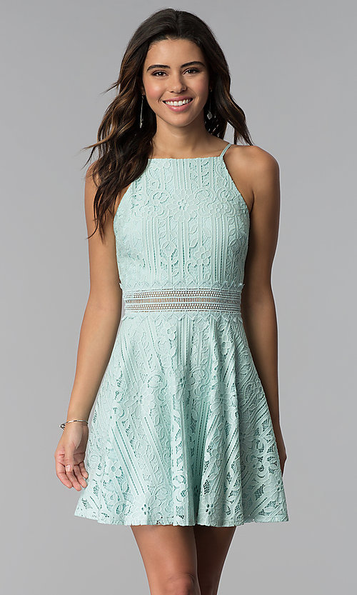 Image of aqua green short lace wedding guest party dress. Style: CT-3412KC2DT1 Front Image