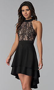 Image of high-low black party dress with lace bodice. Style: CT-3253HA2BT3 Front Image