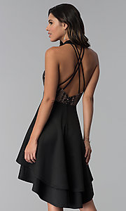Image of high-low black party dress with lace bodice. Style: CT-3253HA2BT3 Back Image