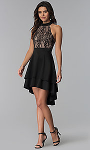 Image of high-low black party dress with lace bodice. Style: CT-3253HA2BT3 Detail Image 3