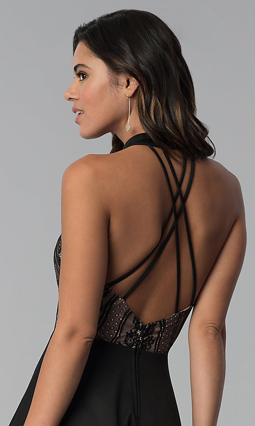 Image of high-low black party dress with lace bodice. Style: CT-3253HA2BT3 Detail Image 2