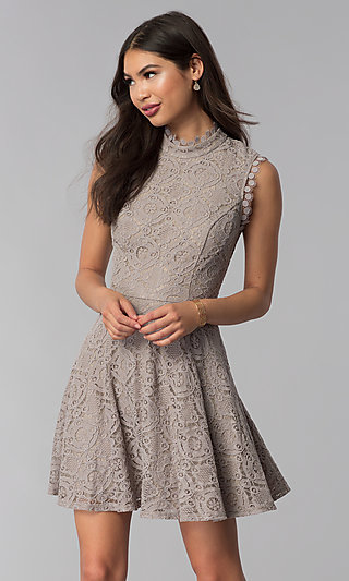 Short Lace Taupe Wedding-Guest Dress with High Neck