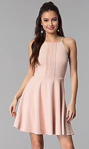Image of wedding guest short party dress in pale blush pink. Style: CT-7711NR7CT1 Front Image