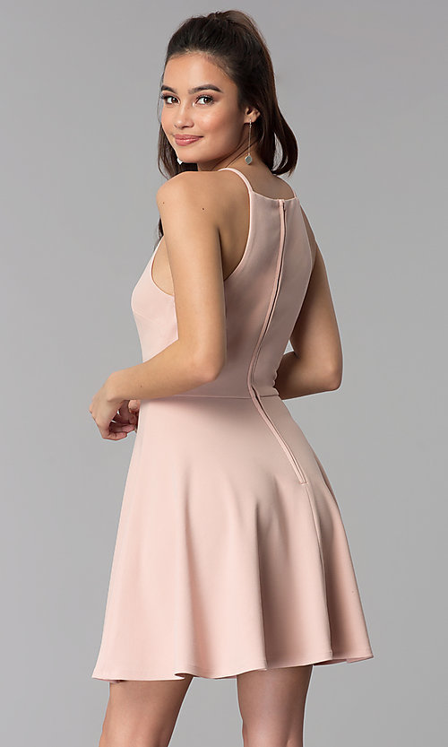 Image of wedding guest short party dress in pale blush pink. Style: CT-7711NR7CT1 Back Image