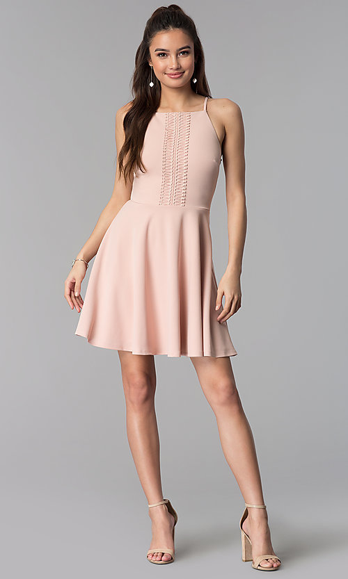 Image of wedding guest short party dress in pale blush pink. Style: CT-7711NR7CT1 Detail Image 3