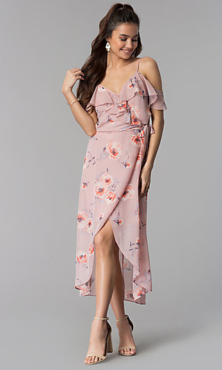 Floral-Print High-Low Chiffon Wedding Guest Dress