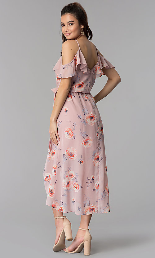 Image of floral-print high-low chiffon wedding guest dress. Style: CT-2407KB6AT1 Back Image