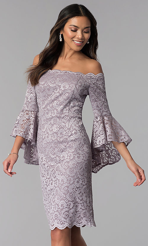 00435ae81438 Image of MOB off-the-shoulder short lace 3 4-sleeve dress