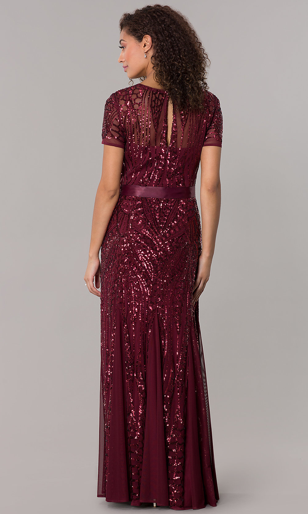 Short Sleeve Sequin Long Mother Of The Bride Dress