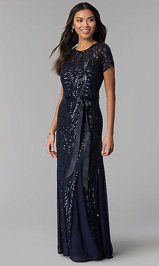 Short-Sleeve Long Sequin Mother-of-the-Bride Dress