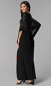 Image of black long mother-of-the-bride dress with capelet. Style: MO-8899 Back Image