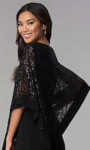 Image of black long mother-of-the-bride dress with capelet. Style: MO-8899 Detail Image 2