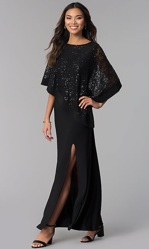 Image of black long mother-of-the-bride dress with capelet. Style: MO-8899 Front Image