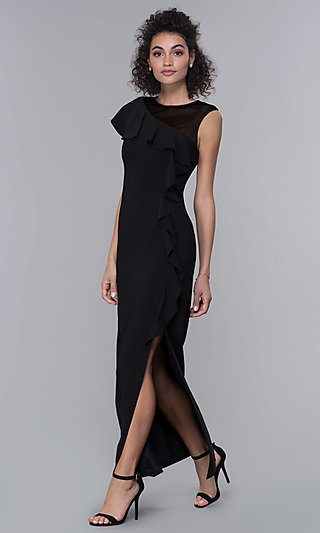 Mother-of-the-Bride Long Black Formal Dress