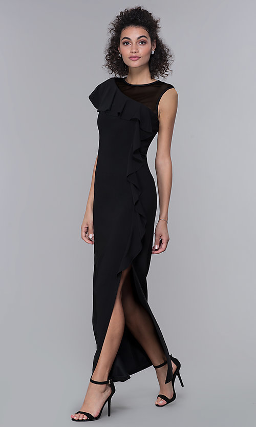 Image of mother-of-the-bride long black formal dress. Style: MO-2284 Front Image