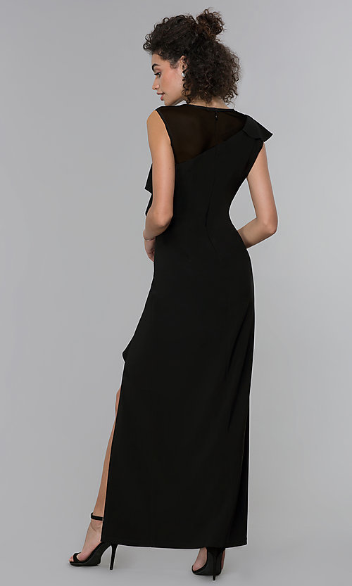 Image of mother-of-the-bride long black formal dress. Style: MO-2284 Back Image