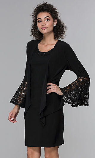 Short Black Party Dress with Long-Sleeve Jacket
