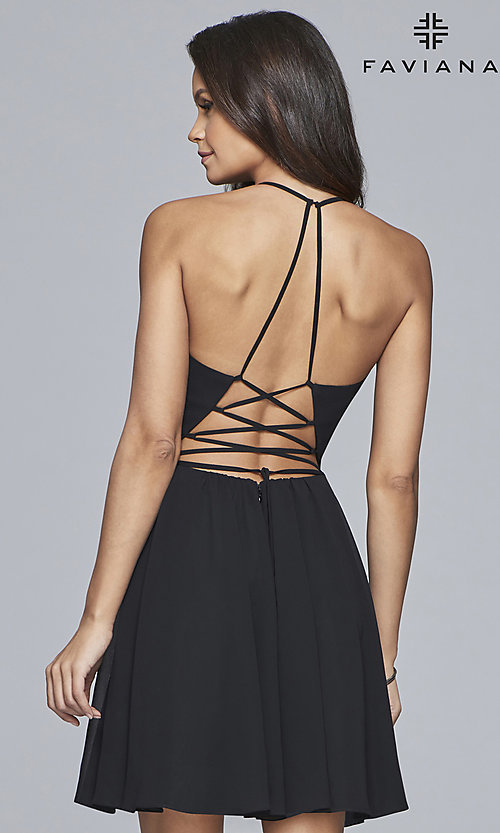 Image of Faviana open-back v-neck homecoming dress. Style: FA-10150 Back Image