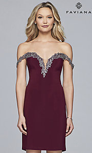 Image of off-shoulder short Faviana homecoming party dress. Style: FA-S10152 Detail Image 3