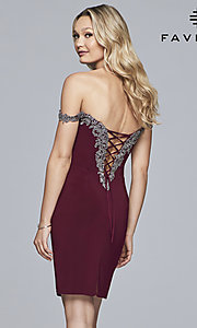 Image of off-shoulder short Faviana homecoming party dress. Style: FA-S10152 Detail Image 4