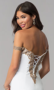 Image of off-shoulder short Faviana homecoming party dress. Style: FA-S10152 Detail Image 2