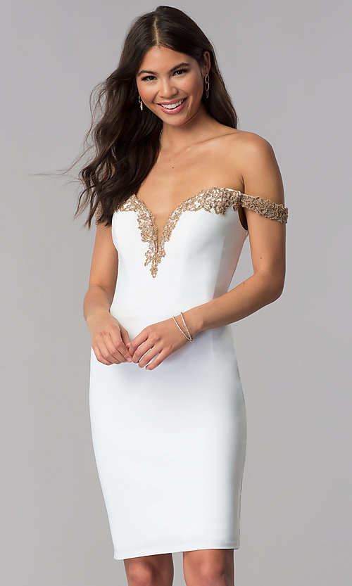 Image of off-shoulder short Faviana homecoming party dress. Style: FA-S10152 Back Image