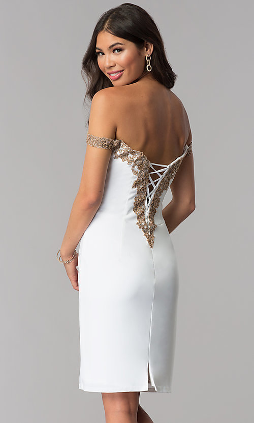 Image of off-shoulder short Faviana homecoming party dress. Style: FA-S10152 Front Image