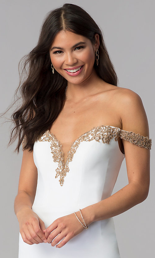 Image of off-shoulder short Faviana homecoming party dress. Style: FA-S10152 Detail Image 1