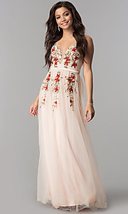 Image of floral-embroidered long prom dress in blush pink. Style: LP-24865b Front Image