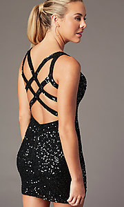 Image of sequin v-neck short cocktail party dress. Style: PV-PL-111 Front Image