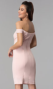 Image of short wedding-guest off-the-shoulder party dress. Style: MB-7319S Back Image