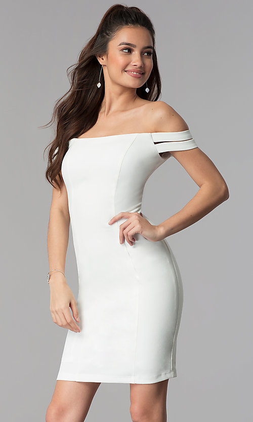 Image of short wedding-guest off-the-shoulder party dress. Style: MB-7319S Detail Image 2