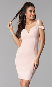 Image of cold-shoulder sweetheart short cocktail party dress. Style: MB-7335S Front Image