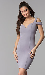 Image of cold-shoulder sweetheart short cocktail party dress. Style: MB-7335S Detail Image 3