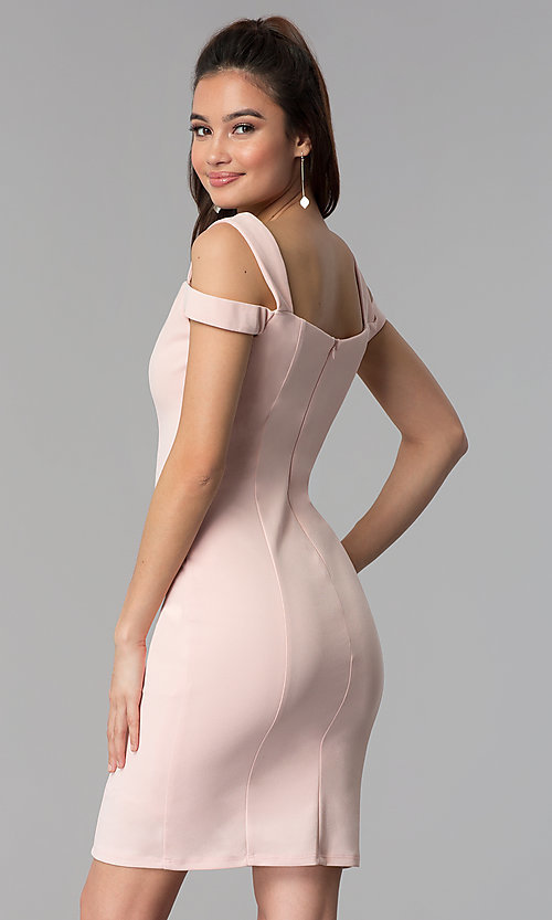 Image of cold-shoulder sweetheart short cocktail party dress. Style: MB-7335S Back Image