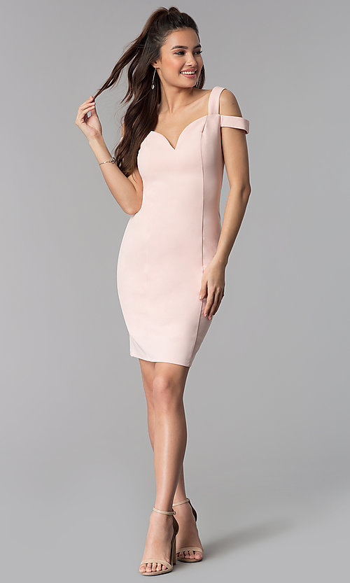 Image of cold-shoulder sweetheart short cocktail party dress. Style: MB-7335S Detail Image 1