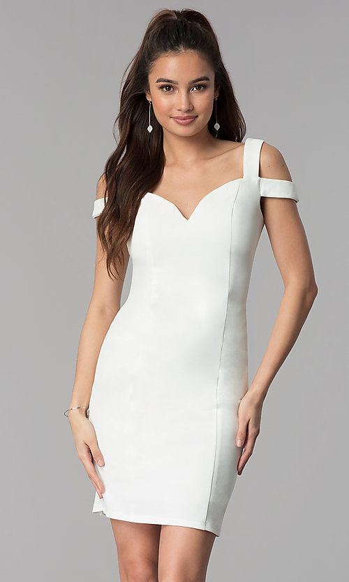 Image of cold-shoulder sweetheart short cocktail party dress. Style: MB-7335S Detail Image 2