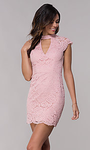 Image of short lace wedding-guest dress with keyhole back. Style: LP-27716 Detail Image 4