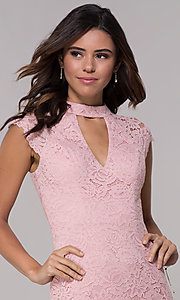 Image of short lace wedding-guest dress with keyhole back. Style: LP-27716 Detail Image 6
