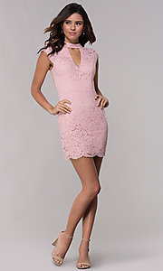 Image of short lace wedding-guest dress with keyhole back. Style: LP-27716 Detail Image 8