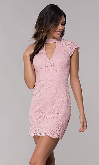 Short Lace Wedding-Guest Dress with Keyhole Back