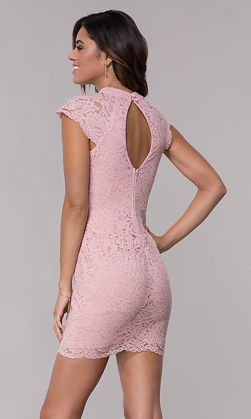 Image of short lace wedding-guest dress with keyhole back. Style: LP-27716 Detail Image 5