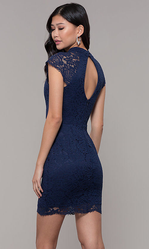 Image of short lace wedding-guest dress with keyhole back. Style: LP-27716 Back Image
