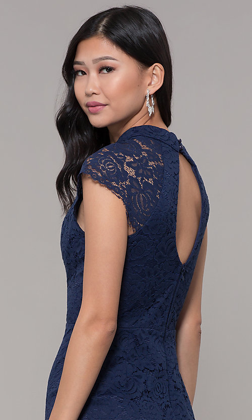 Image of short lace wedding-guest dress with keyhole back. Style: LP-27716 Detail Image 2