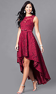 Image of mauve high-low chiffon prom dress with lace. Style: LP-24056m Detail Image 3