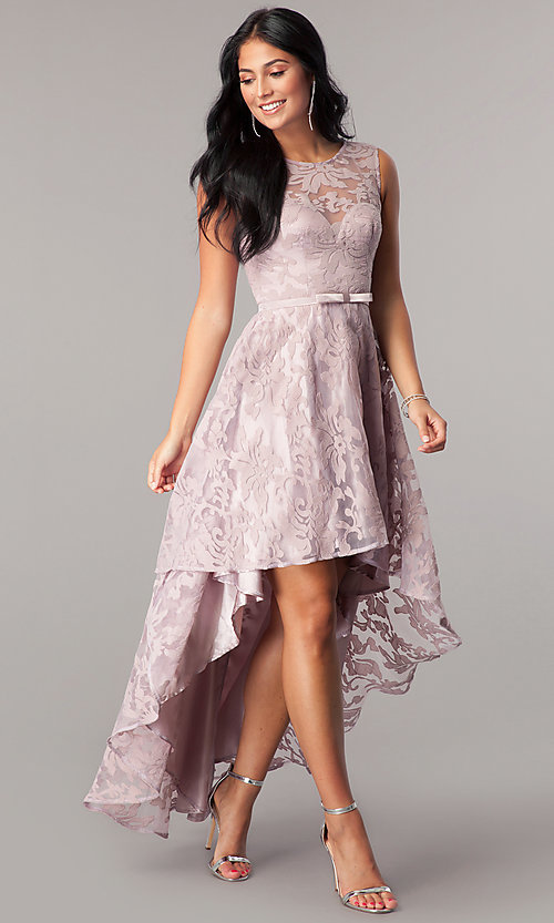 Image of mauve high-low chiffon prom dress with lace. Style: LP-24056m Detail Image 1