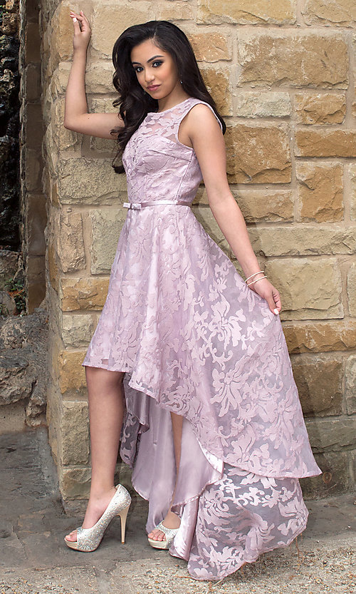 Image of mauve high-low chiffon prom dress with lace. Style: LP-24056m Front Image